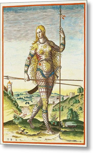 Pictish Woman, From Admiranda Narratio..., Engraved By Theodore De Bry 1528-98 1585-88 Coloured Metal Print