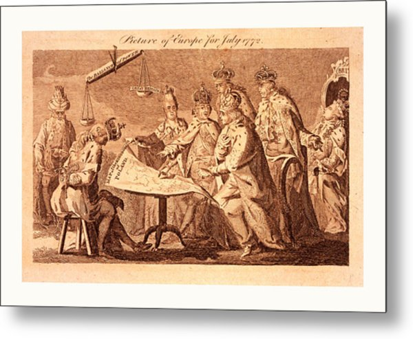 Picture Of Europe For July 1772, Catherine II, Leopold II Metal Print