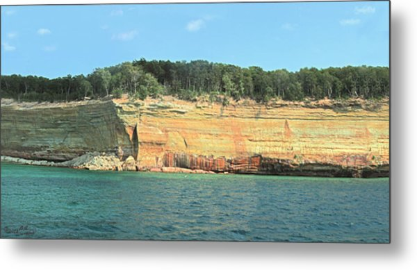 Pictured Rocks Sunlight And Shadows Panorama Metal Print