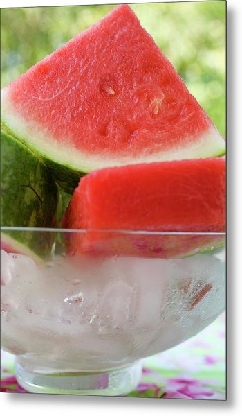 Pieces Of Watermelon In A Bowl Of Ice Cubes Metal Print