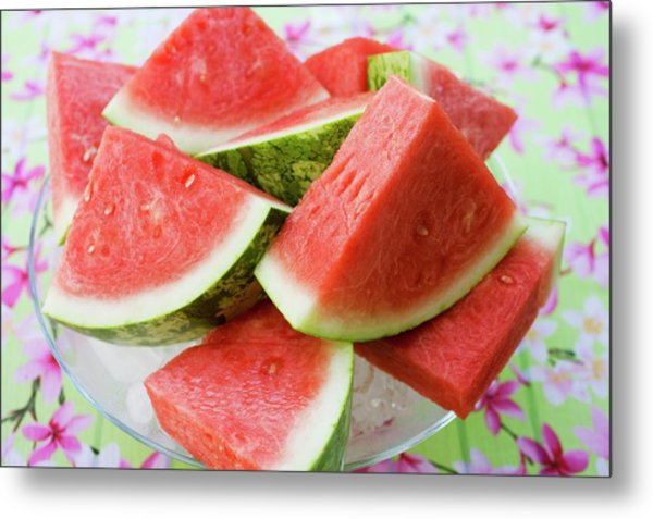Pieces Of Watermelon On A Glass Platter Metal Print
