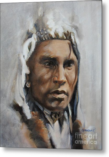 Piegan Warrior Portrait Metal Print