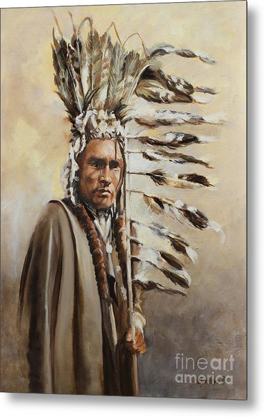 Piegan Warrior With Coup Stick Metal Print