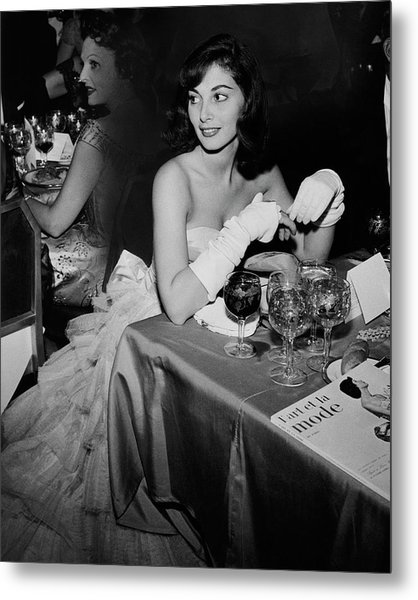 Pier Agnelli Wearing An Evening Gown At A Ball Metal Print