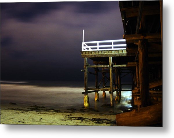 Pier At Night - 2 Metal Print by Carrie Warlaumont