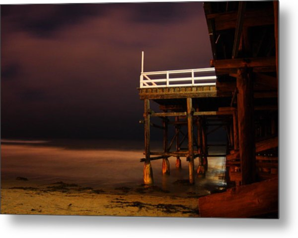 Pier At Night Metal Print by Carrie Warlaumont