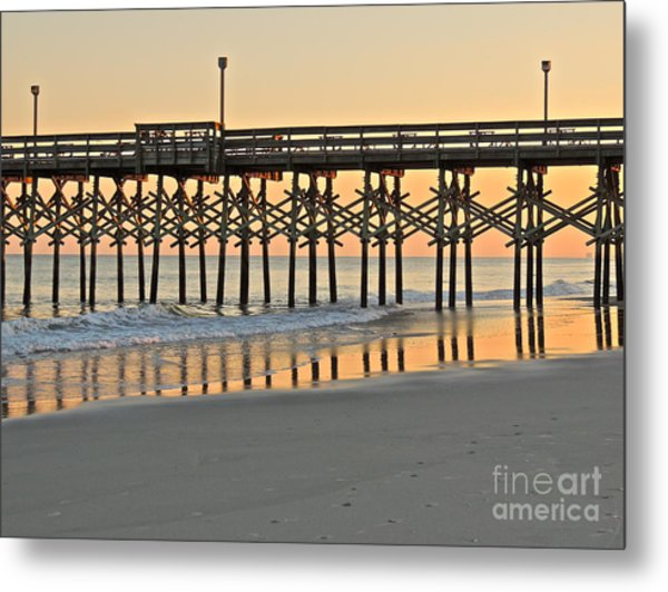 Pier At Sunset Metal Print