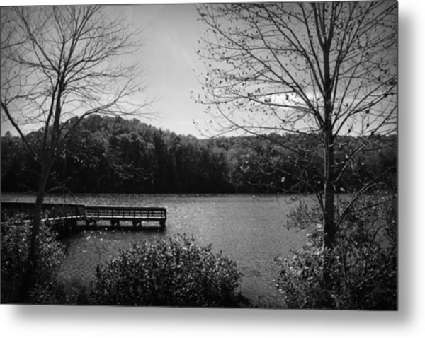 Pier At Table Rock In Black And White Metal Print