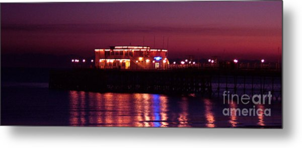 Pier By Night Metal Print by Mark Bowden