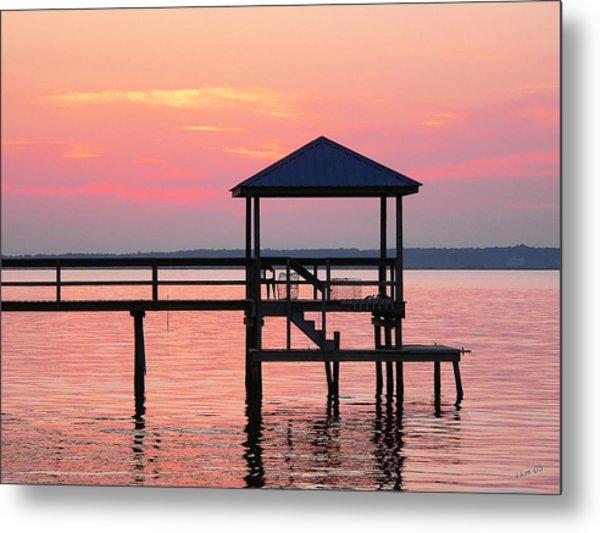Pier In Pink Sunset Metal Print