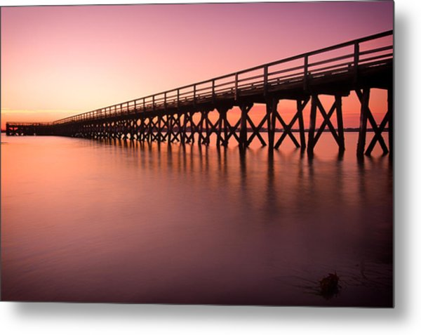 Metal Print featuring the photograph Pier Into The Distance by Jeff Sinon