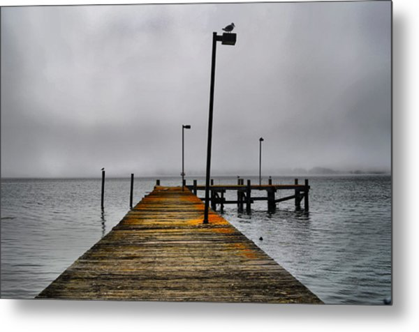 Pier Into The Fog Metal Print