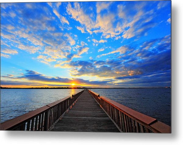 Pier Into The Sunset Metal Print
