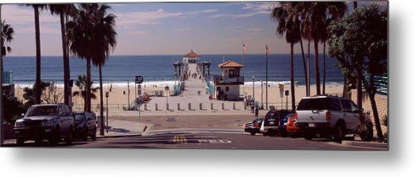 Pier Over An Ocean, Manhattan Beach Metal Print