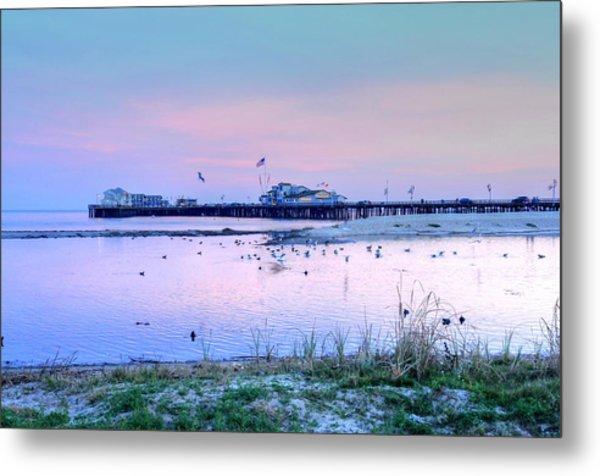 Pier Pond And Sea Metal Print