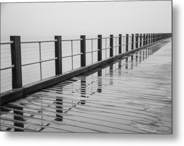 Pier Reflections Metal Print