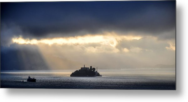 Piercing Through Darkness Light Shines On The Rock Metal Print