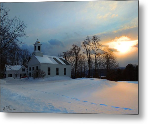 Piermont Church In Winter Light Metal Print