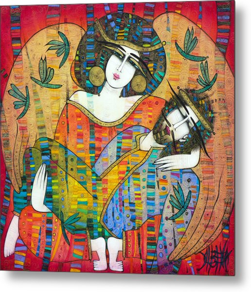 Pieta Of Icarus With Dragonflies Metal Print