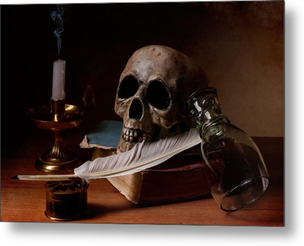 Vanitas With Snuffed Candle And Writing Utensils Metal Print