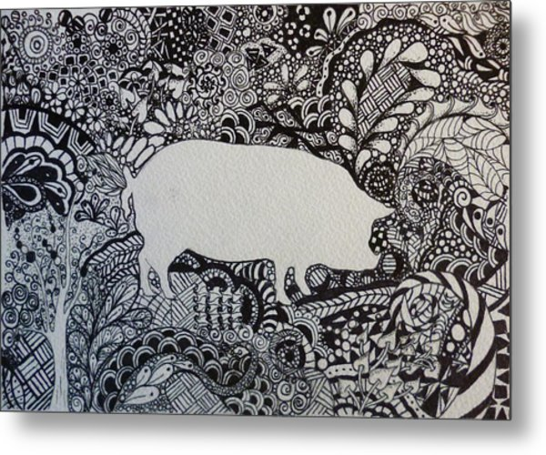 Pig Tangle Black And White Ink Ooak By Pigatopia Metal Print
