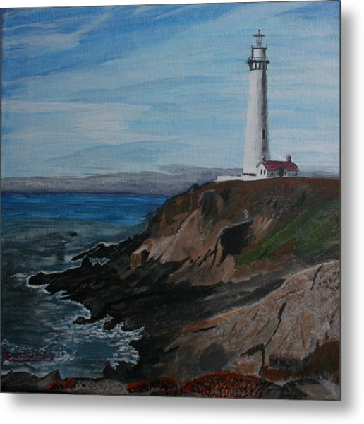 Pigeon Lighthouse Daytime Titrad Metal Print