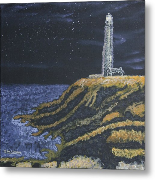 Pigeon Lighthouse Night Scumbling Complementary Colors Metal Print