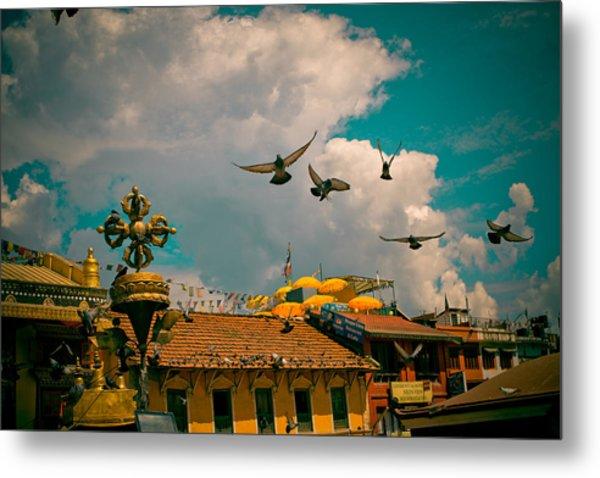 Pigeons Near Monastery In Boudnath Kathmandu Metal Print