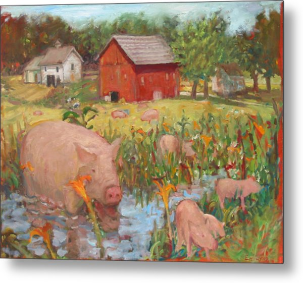 Pigs And Lilies Metal Print