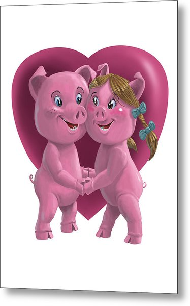 Pigs In Love Metal Print