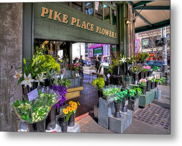 Pike Place Flowers Metal Print