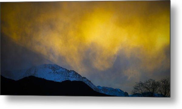 Pike's Peak Snow At Sunset Metal Print