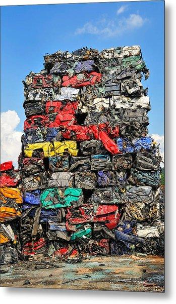 Pile Of Scrap Cars On A Wrecking Yard Metal Print