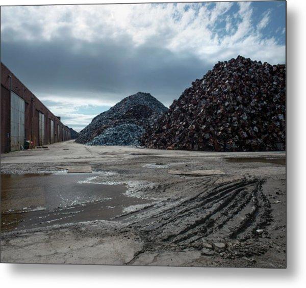 Piles Of Scrap Metal Metal Print by Robert Brook