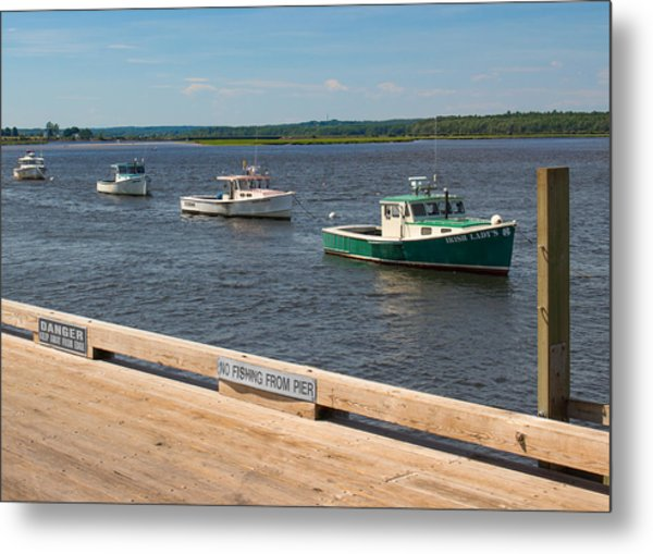 Pine Point Lobster Boat Line Metal Print