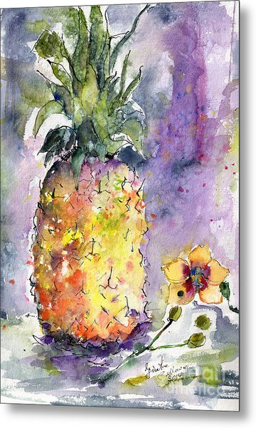 Pineapple And Orchids Metal Print