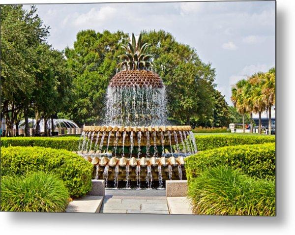Pineapple Fountain In Waterfront Park Metal Print