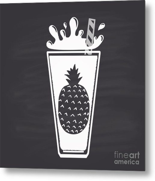 Pineapple Juice Drawn In Chalk In A Metal Print