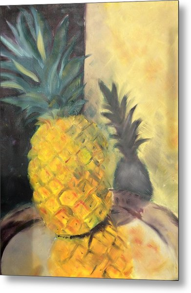 Pineapple On A Silver Tray Metal Print