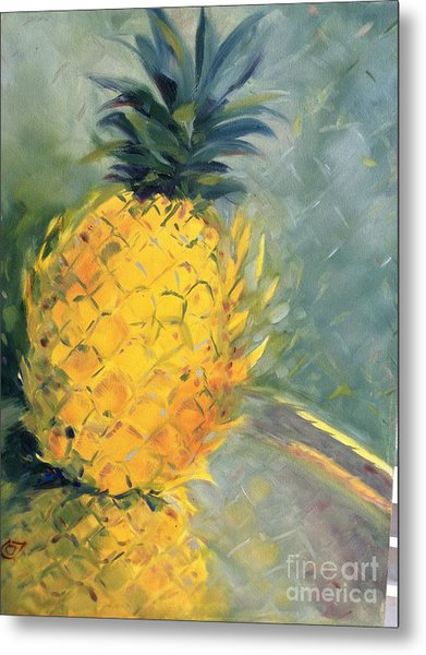 Pineapple On Soft Green Metal Print