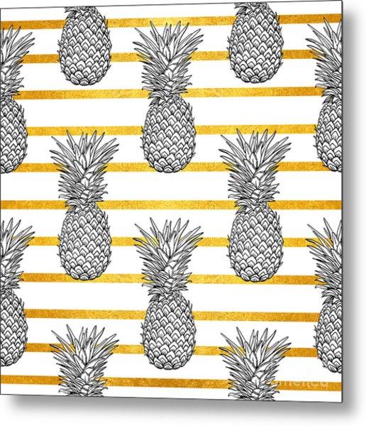 Pineapple Tropical Vector Seamless Metal Print