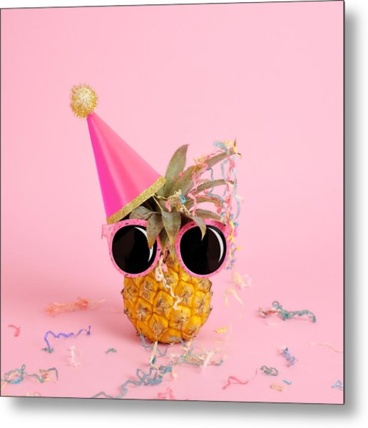 Pineapple Wearing A Party Hat And Metal Print