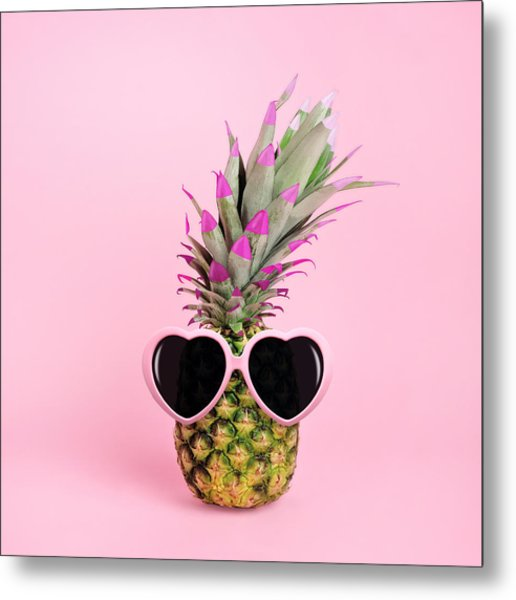 Pineapple Wearing Sunglasses Metal Print by Juj Winn
