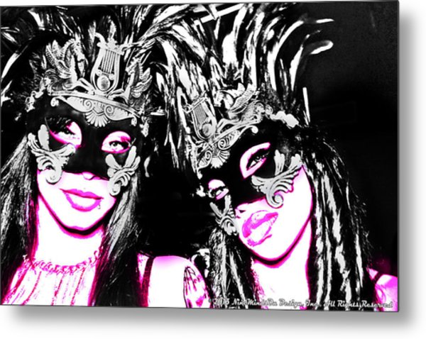 Pink And Black  Metal Print by Ley Clarie Gray