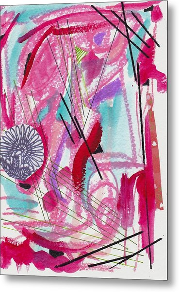 Pink And Black Lines Metal Print