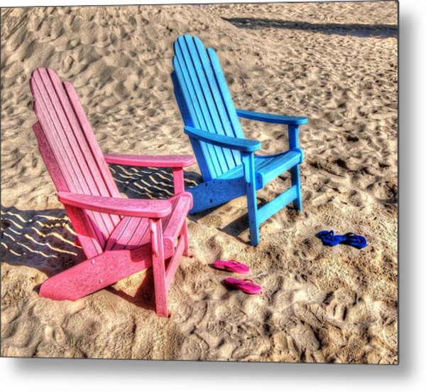 Pink And Blue Beach Chairs With Matching Flip Flops Metal Print