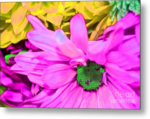 Pink And Green Flowers Metal Print by LLaura Burge
