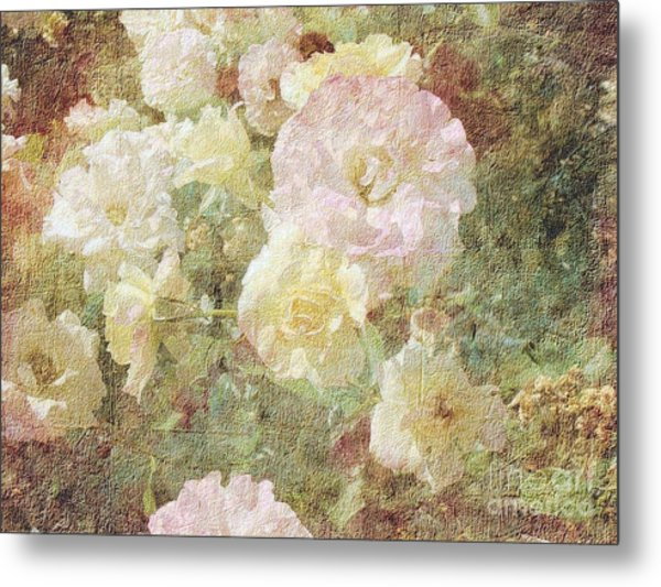 Pink And White Roses With Tapestry Look Metal Print