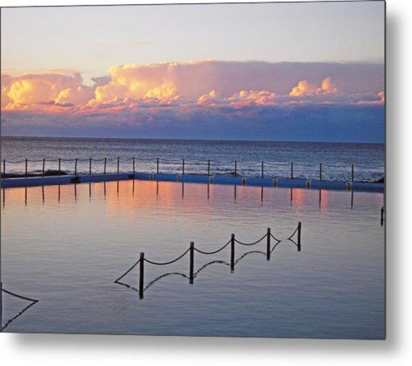 Pink At Dawn Swimming Metal Print