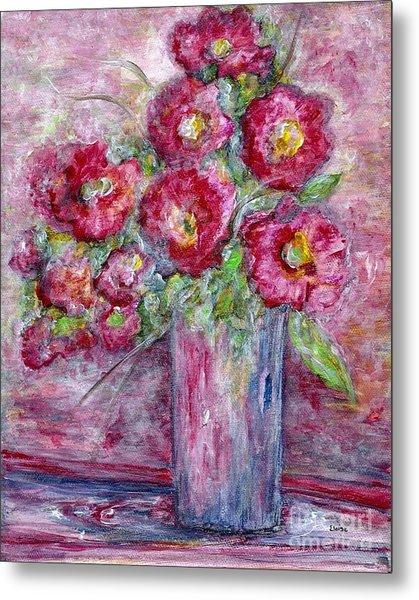 Pink Beauties In A Blue Crystal Vase Metal Print